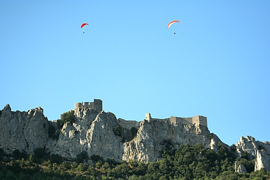 Flying the Castle, In the French Pyrenees.